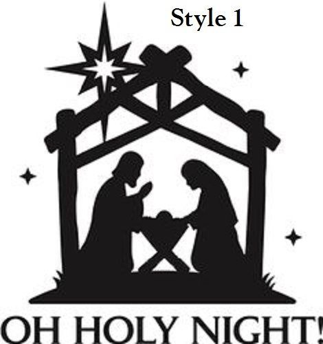 Nativity Oh Holy Night Christmas Decal Sticker For Glass Block - Nativity vinyl decal for glass block light