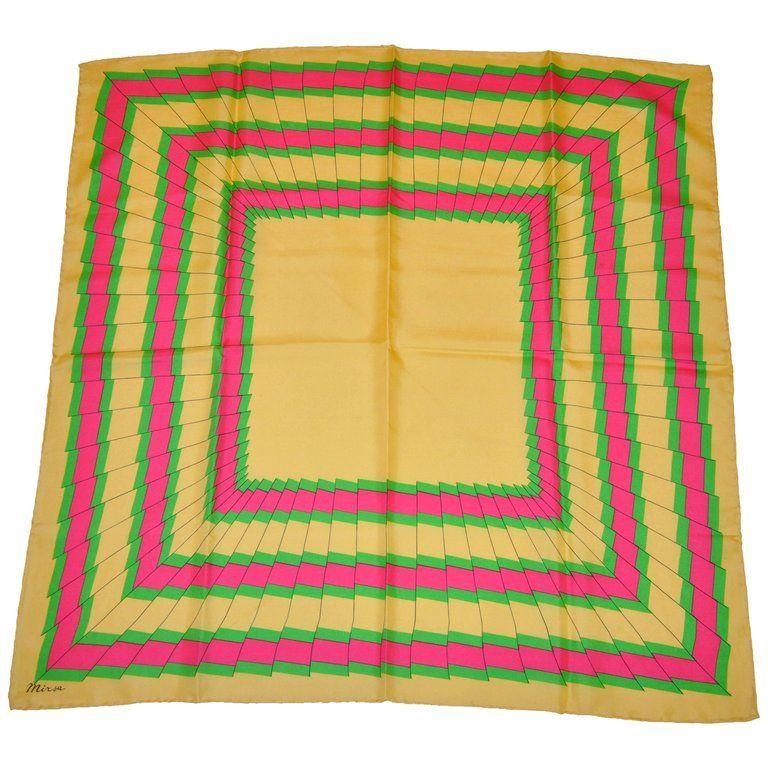 e983b6ee1b8 1stdibs Mirsa Fuchsia & Neon Green Pleated Frame Silk Scarf, Yellow ...
