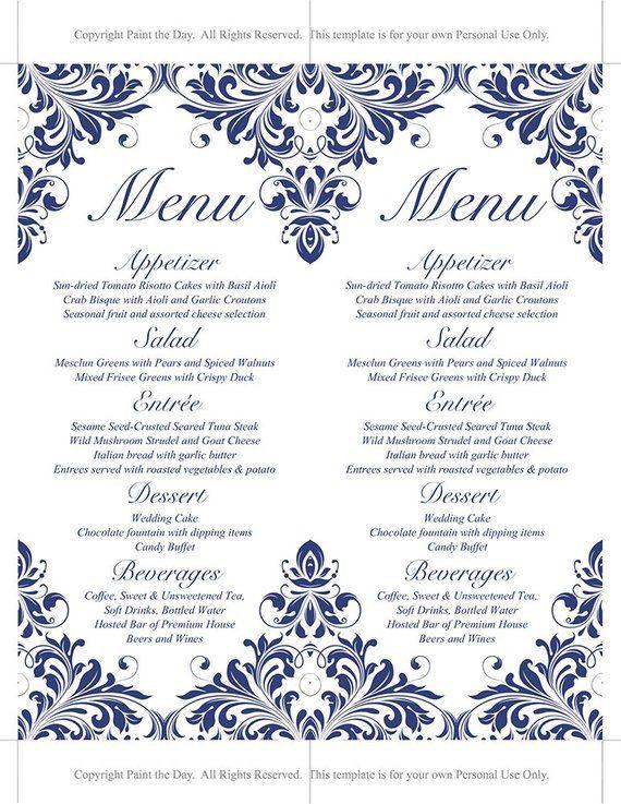 Printable Wedding Menu Card Template - Navy Menu Card