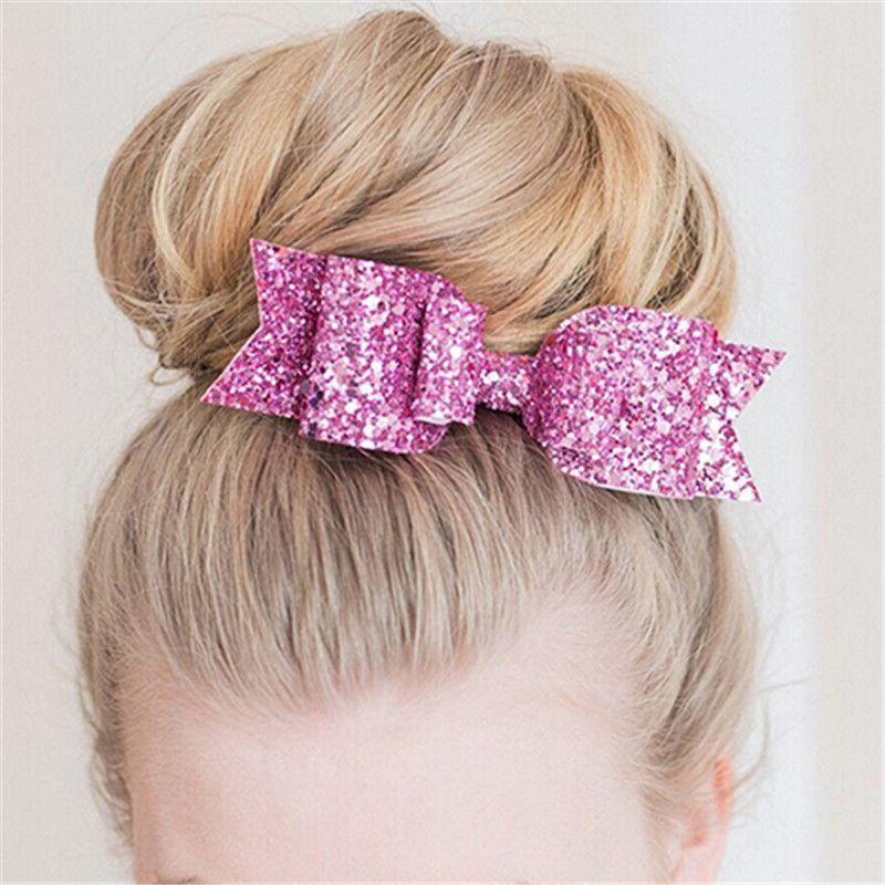 Kids Girls Glitter Bow Hairpin Barrettes Headband Headwear Fashion Hair Acc