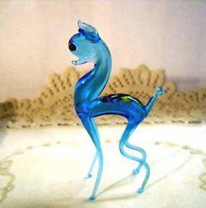 Vintage Murano Hand Blown Glass Deer Animal Art Figurine In Aqua Blue Sweet Animal Art Hand Blown Glass Glass Blowing