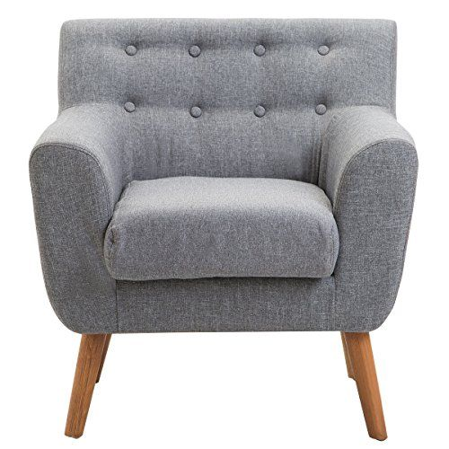Globe House Products Ghp 260 Lbs Gray Linen Wood Frame Padded Armrest Contemporary Single Sofa Chair