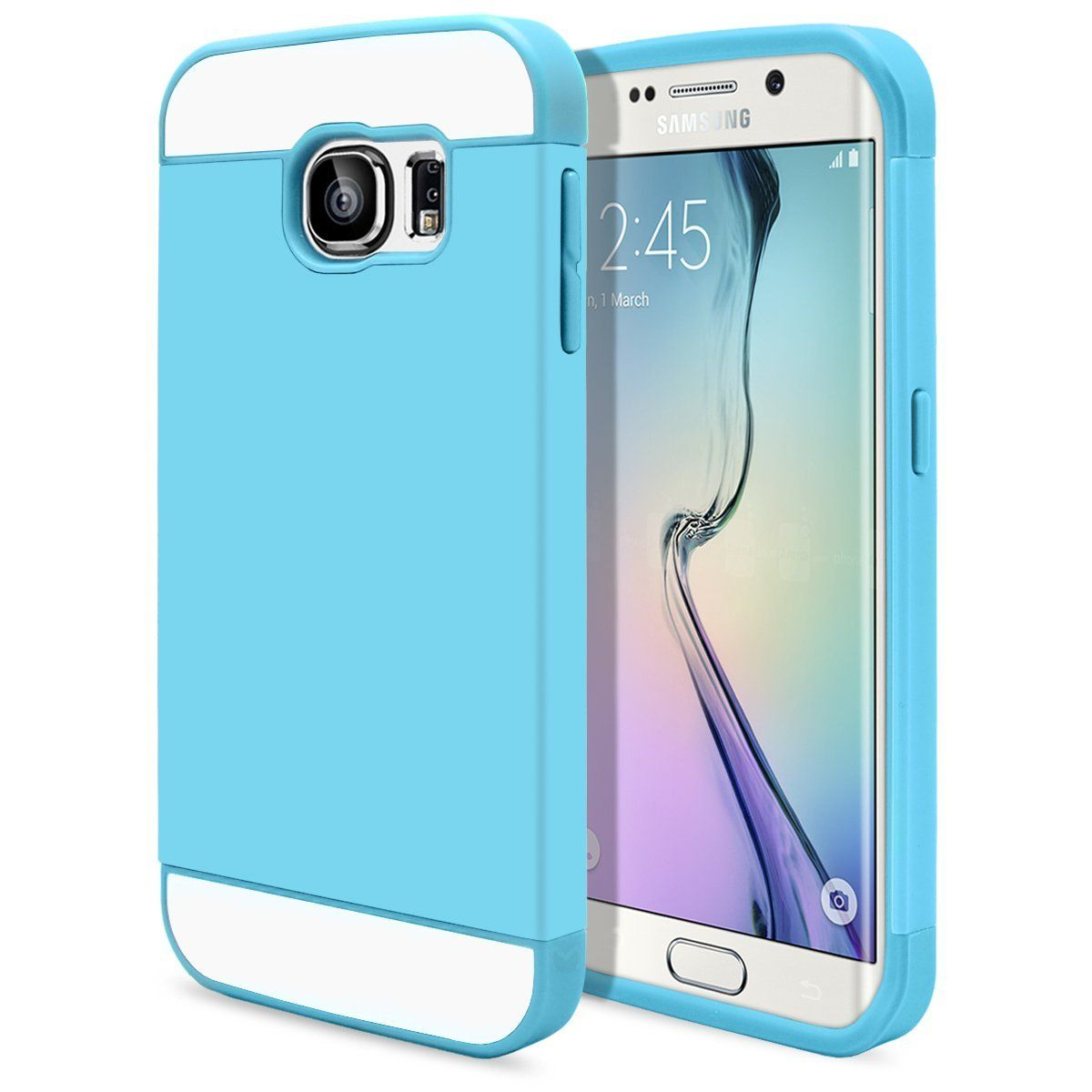 Galaxy S6 Edge Case Cute Ultra Slim Protective [Hybrid Impact] Hard Durable Thin TPU Cover for Samsung Galaxy S6 Edge Armor Shell [ Baby Blue - Blue] Case with Clear Screen Protector   MaagicMobile