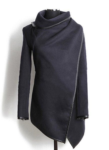 Fashionable Turtleneck Long Sleeve Asymmetric Coat For Women in 2019 | black | Asymmetrical coat