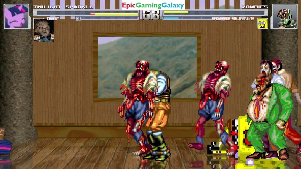 Chucky The Killer Doll Twilight Sparkle VS Zombies SpongeBob SquarePants In A MUGEN Match