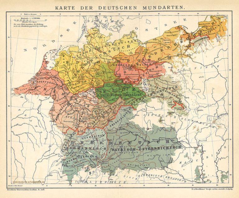 deutschlandkarte von 1914 Karte der Deutschen Mundarten um 1900 | Deutsche dialekte