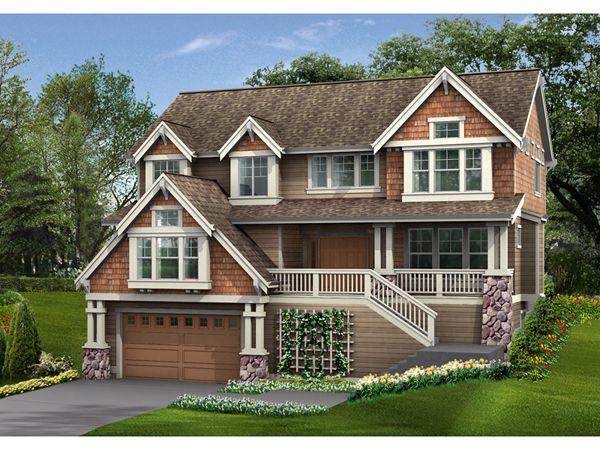 Garden Path Craftsman Home House Garage Decorating And - House design with garage underneath