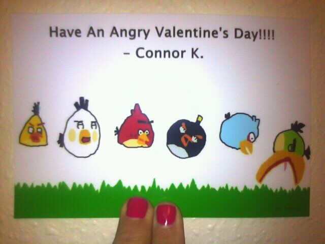 My nephew Connor hand drew these Angry Birds then his mom had them printed on photo paper for homemade Valentine's Day Cards.