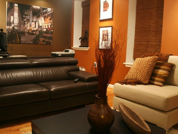 Burnt orange living room design star breakdown alex - Black and orange living room ideas ...