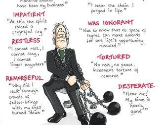 A CHRISTMAS CAROL Quotes GCSE REVISION Poster JACOB MARLEY Dickens | A christmas carol key ...