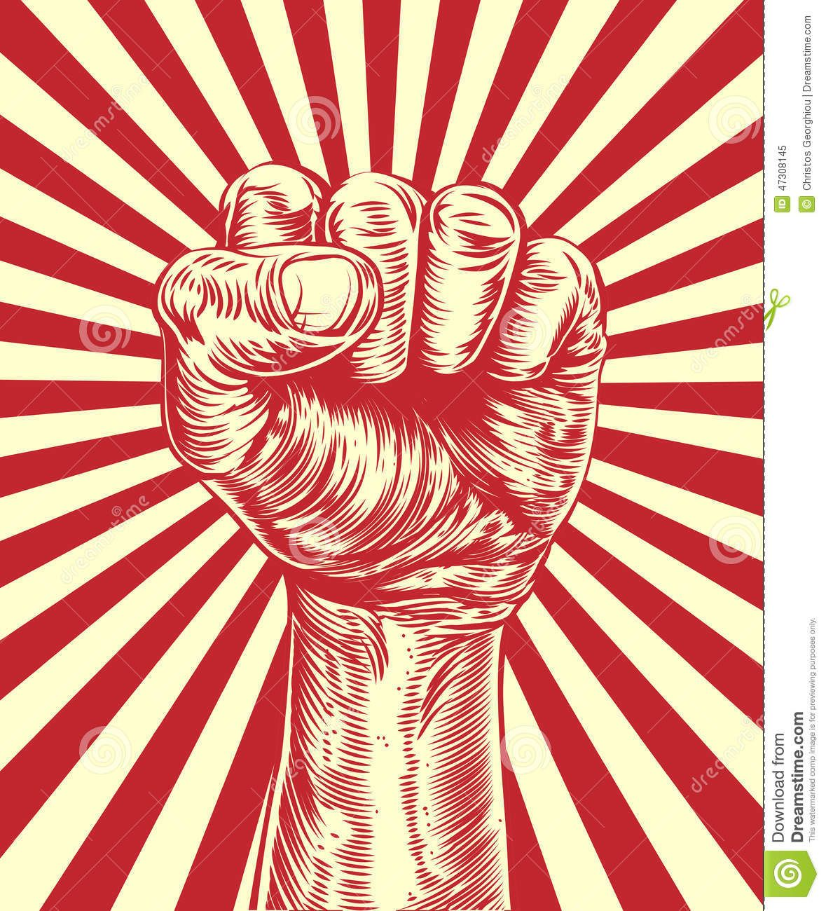 Revolution Fist Propaganda Poster Stock Vector