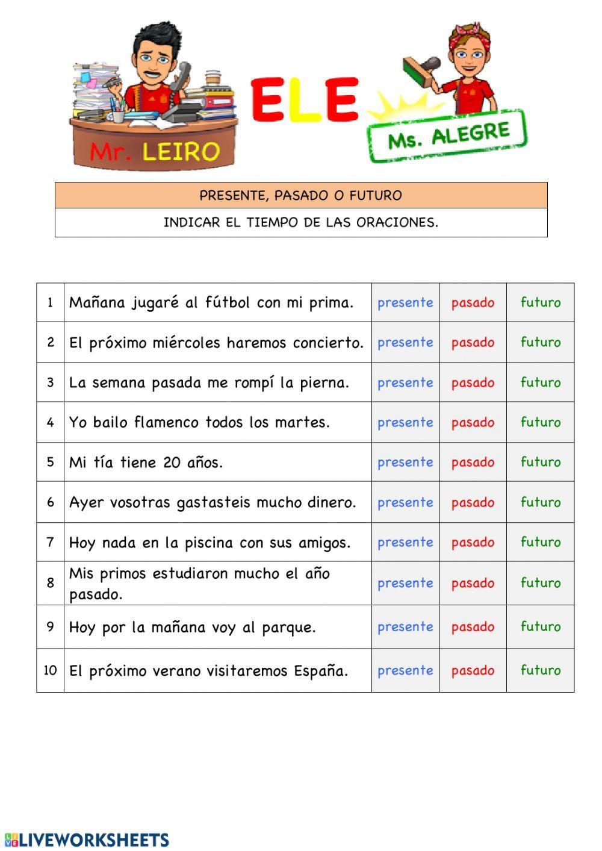Los verbos ficha interactiva y descargable. Puedes hacer los ejercicios  online o descargar la ficha co… | Oraciones con verbo, Verbos en espanol,  Actividades verbos