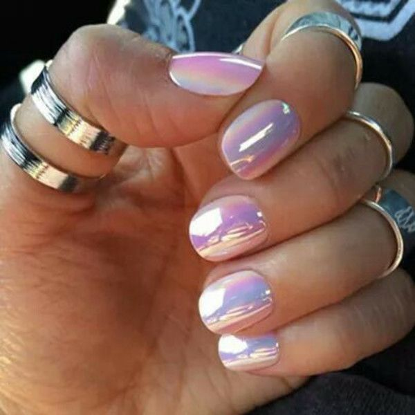 Chrome nails - these are fake nails, not a nail polish, but still a striking look. Description from pinterest.com. I searched for this on bing.com/images