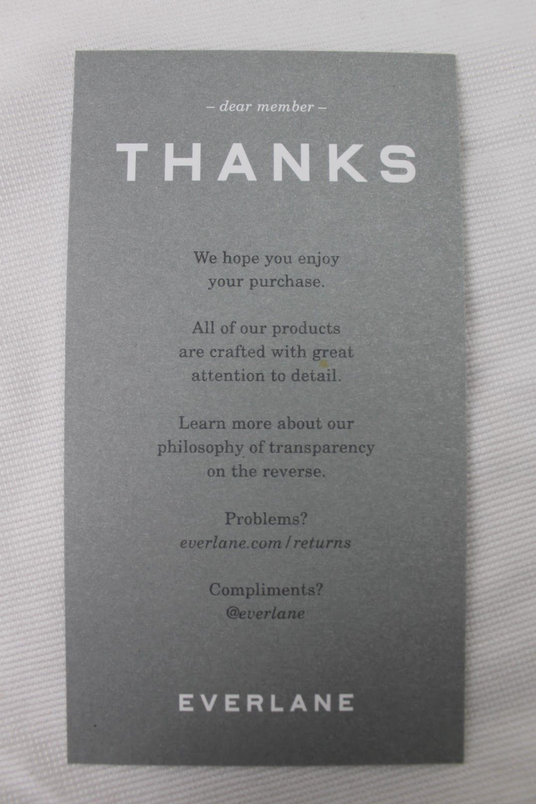 Everlane Thank You Note Clothing packaging,