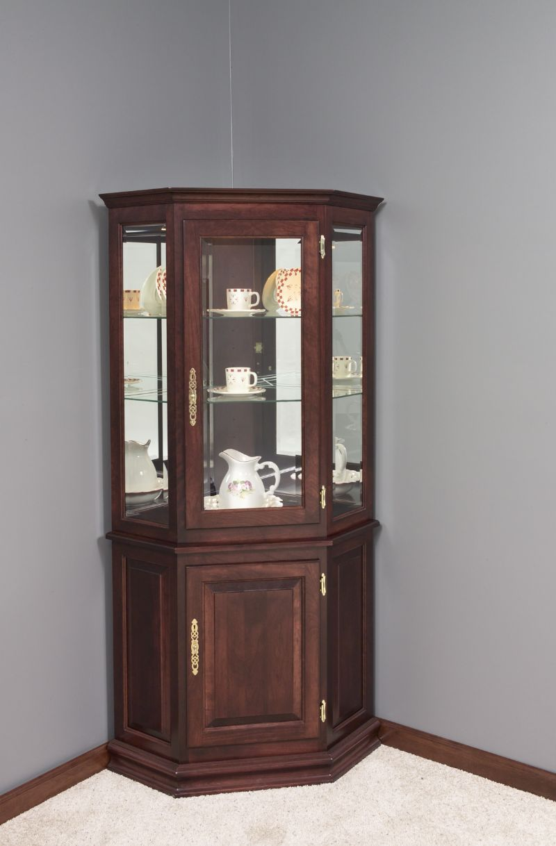 Hardwood Corner Curio Cabinet with Enclosed Base | Corner hutch ...