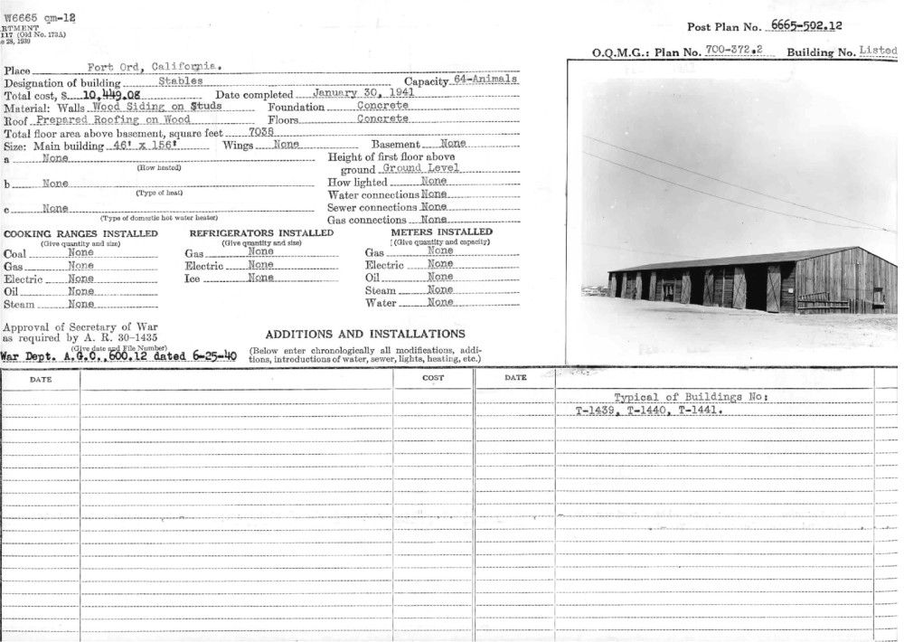 Fort Ord Buildings, Completion Report Pictures 1940-1942