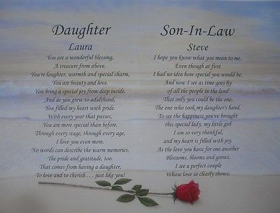 Daughter Son In Law Personalized Poem Anniversary Gift Or Christmas Present Prayers For My Daughter Wishes For Daughter Poem To My Daughter