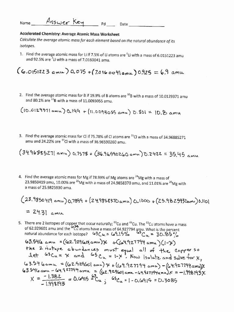 Average atomic Mass Worksheet Inspirational Average atomic