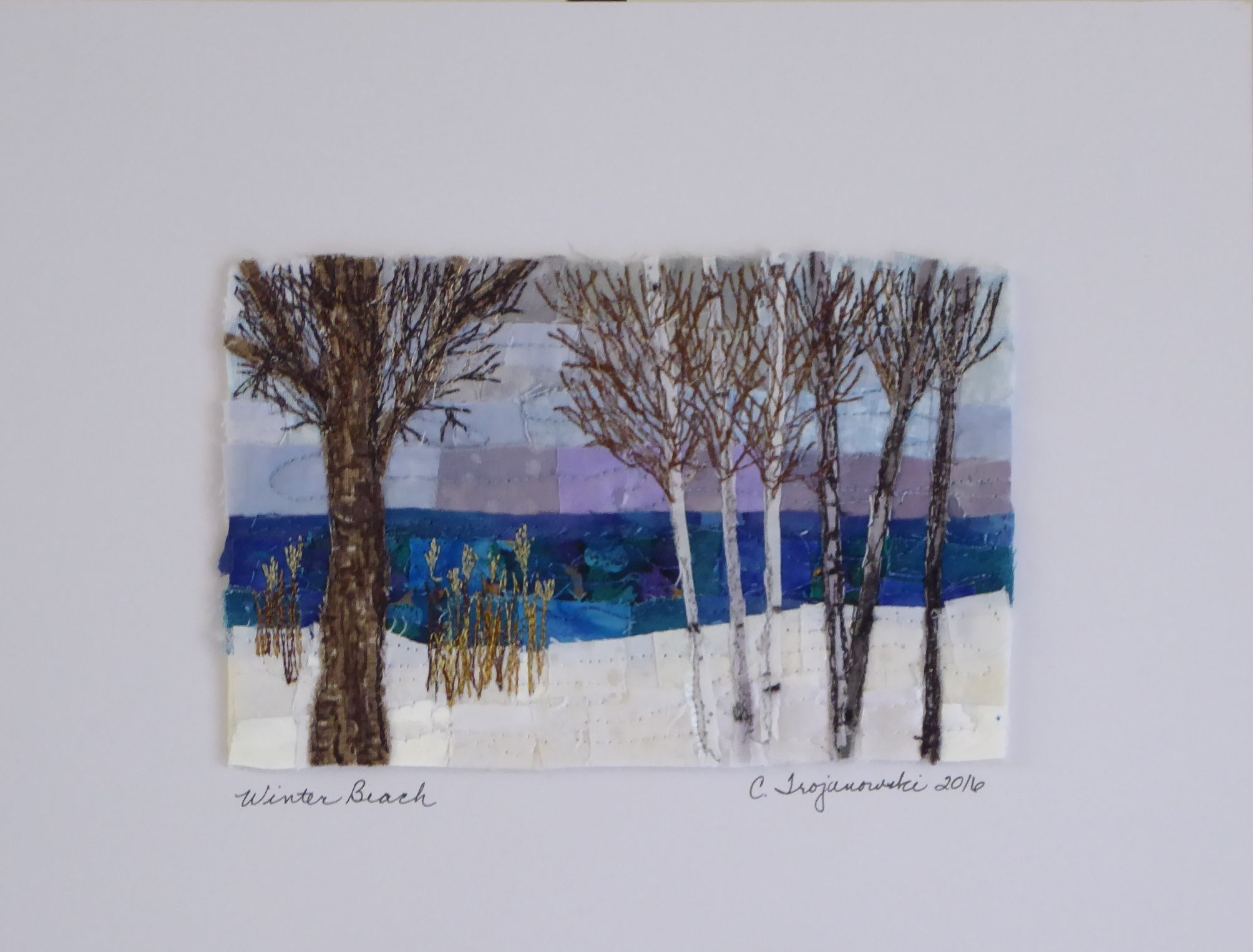 Winter Beach 4x6 Mini Mosaic Art Quilt Mounted On 8x10 Mat And
