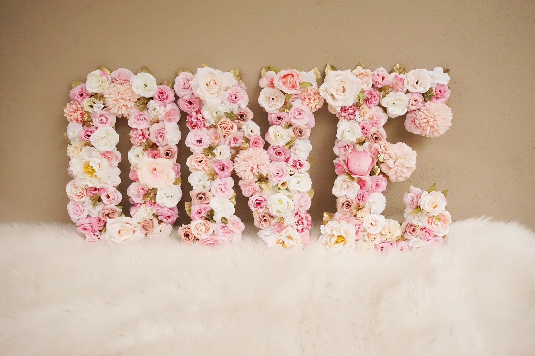 Floral Letters, 1st Birthday Party Decor, First Birthday, Pink and Gold Birthday, Flower ONE Letters, Floral Decorations, Flower Letters