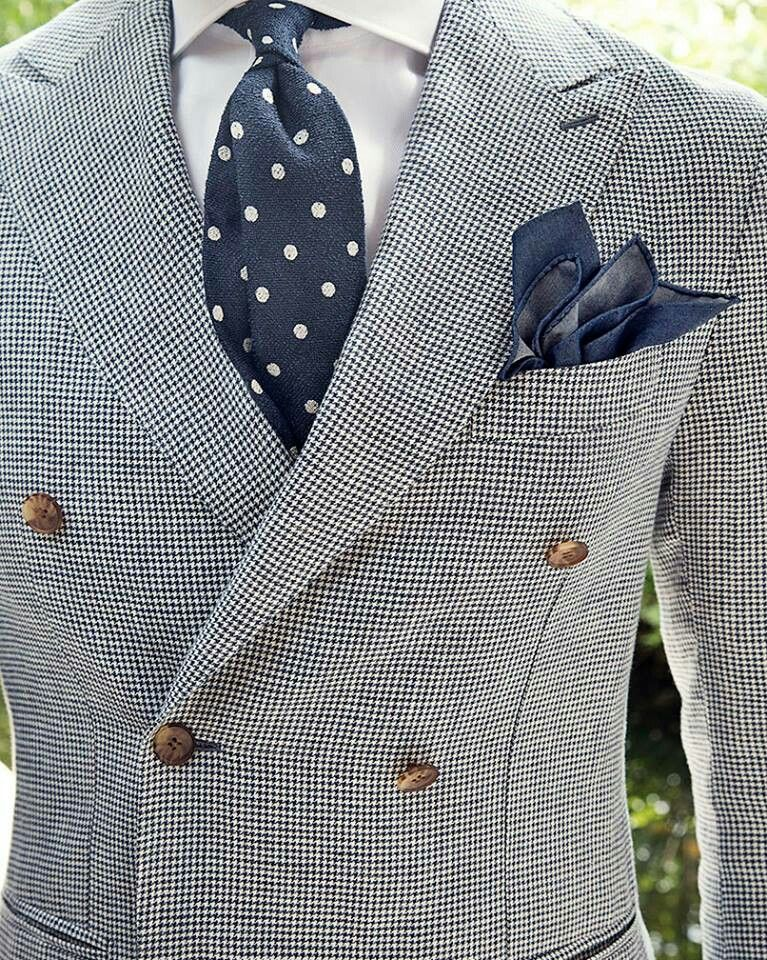 Double Breasted Gray Suit Blue And White Polka Dot Tie