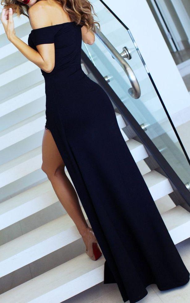 b4bb2a89b4 Black Off Shoulder Lace Panel Thigh High Split Ruched Dress Dresses | Prom  Dresses and Maxi