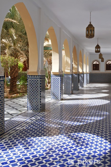 Photo of Courtyard with arches and tiles in Moroccan style in Rissani Wall Mural • Pixers® – We live to change