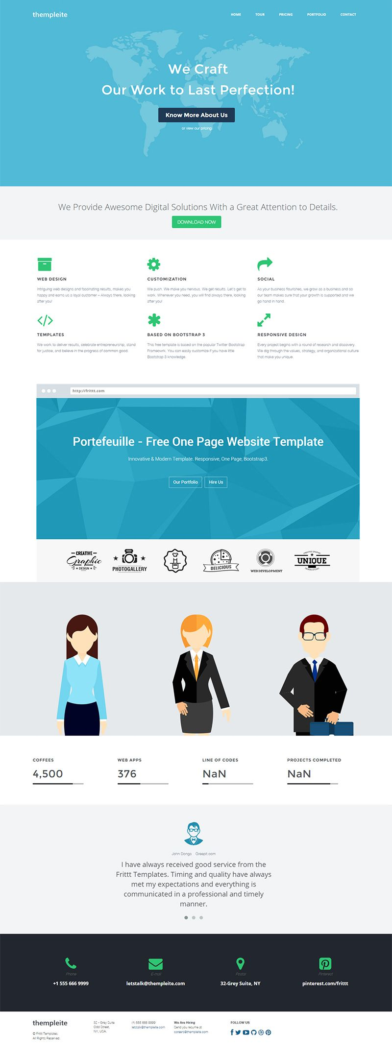 Bootstrap 3 HTML Website Template - thempleite | HTML template ...