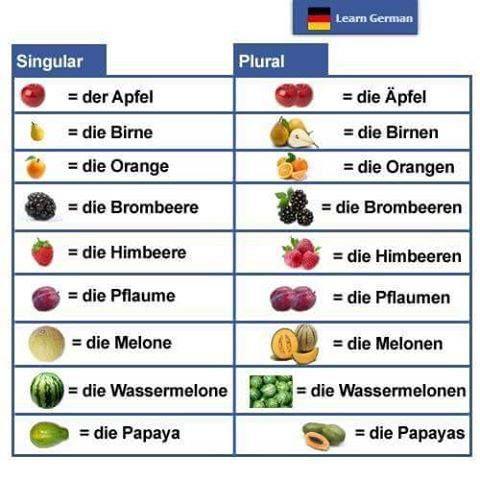 die Früchte Singular und Plural. Fruits singular and plural ...
