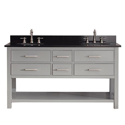 Brooks Chilled Gray 60 Inch Vanity Combo With Black Granite Top