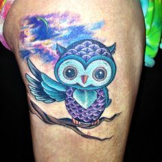 Unique Blue Owl Bird Flowers Picture On Wrist Best Tattoo Design Baby Owl Tattoos Cute Owl Tattoo Owl Tattoo Design