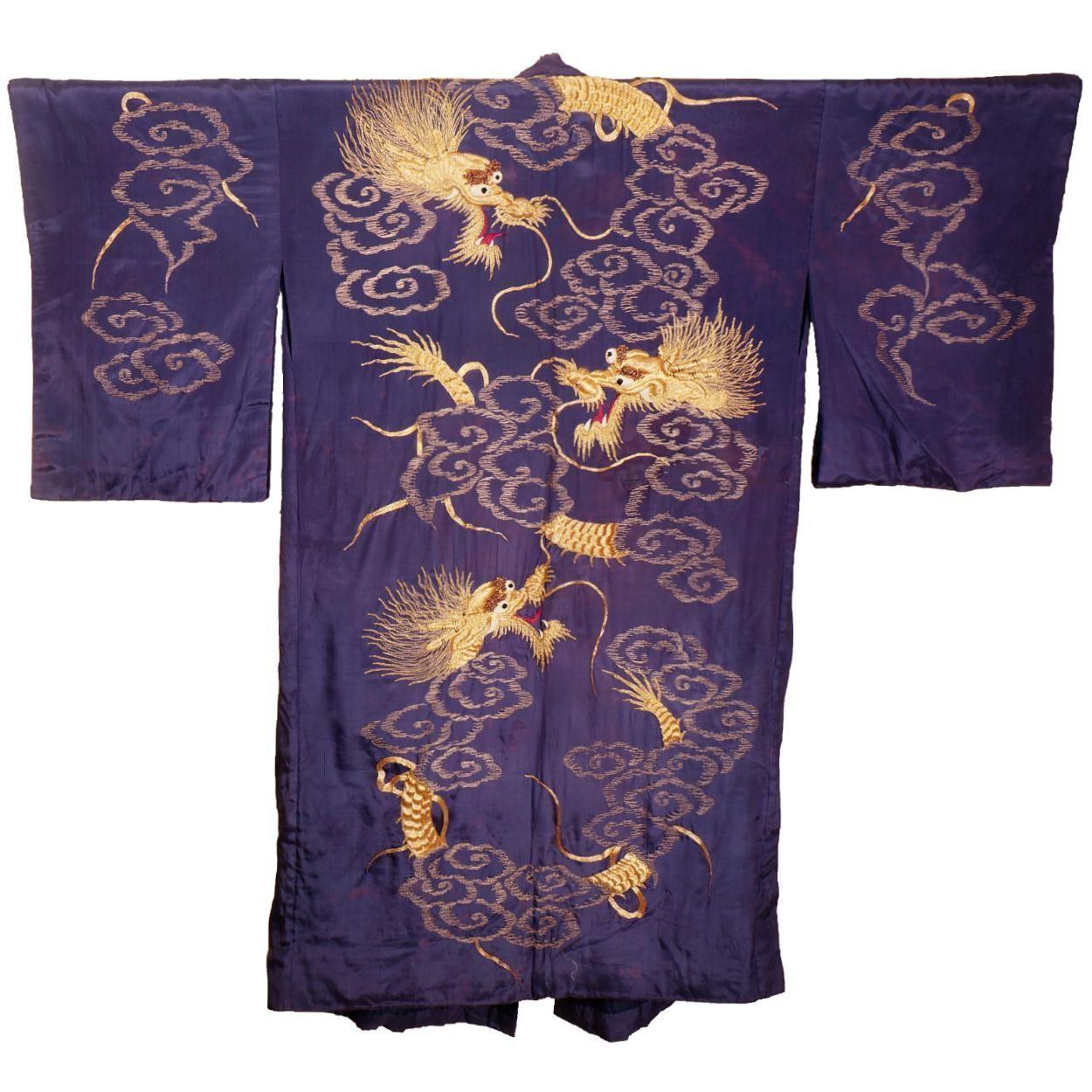 2dd303ce7f Antique Japanese Murasaki Violet Silk Kimono w Gold Dragon Embroidery Robe  Large