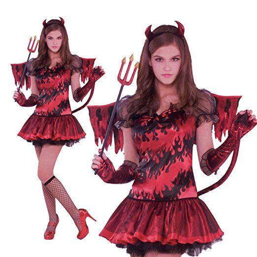 Feuerteufel Kostüm für Kinder Teufelin Halloween Kinderkostüm