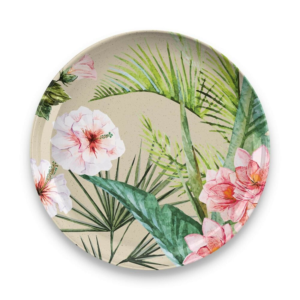 Palermo Tropical Bamboo 12 Piece Dinnerware Set Ebay In 2020 Tropical Dinnerware Sets Floral Decal Dinner Plate Sets