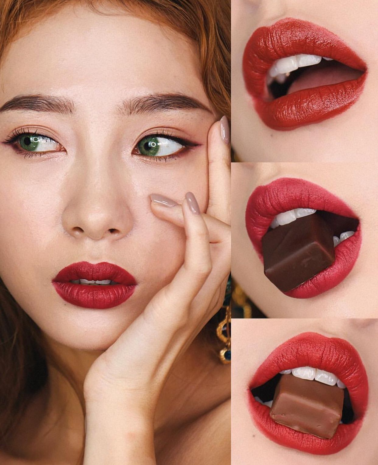Korean makeup with red lips 👄 口紅