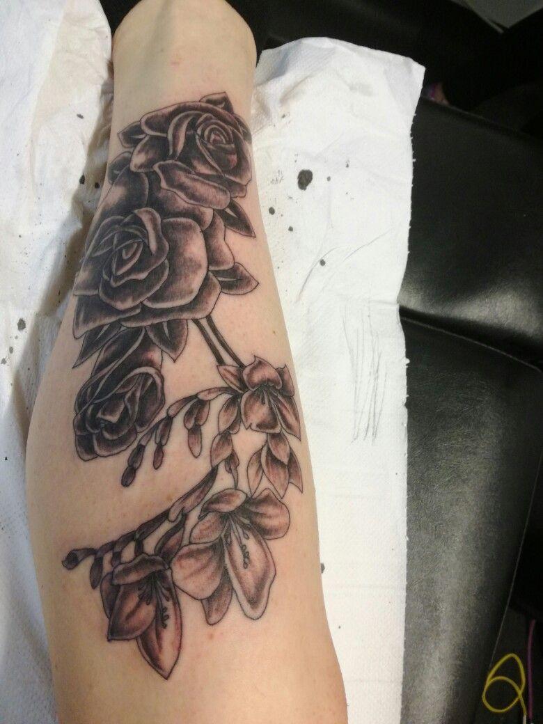 Rose And Freesia Tattoo Inked Up Rose Tattoos Sleeve