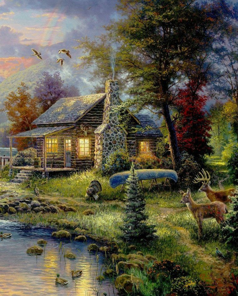 Cabin painting puzzles pinterest lakes cabin and for Log cabin painting