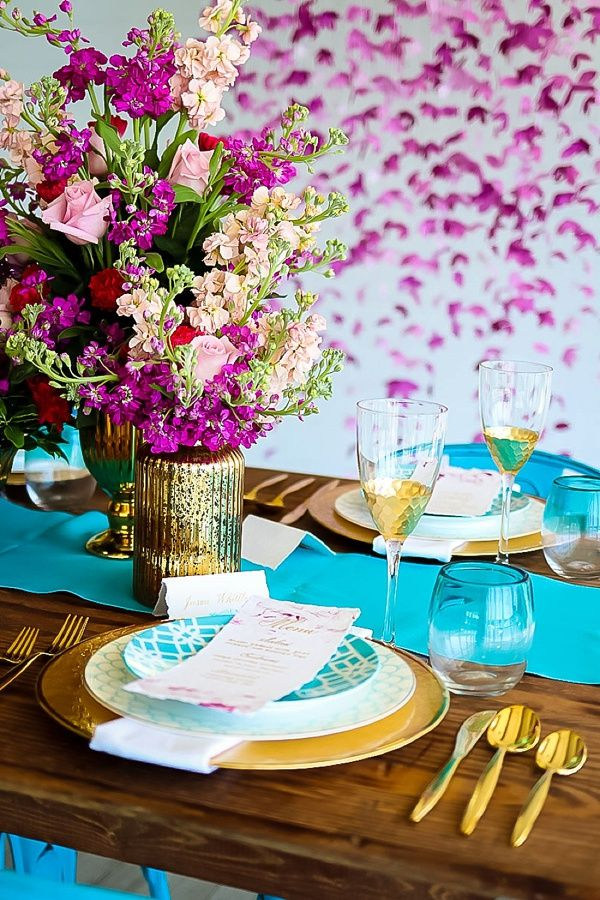 a02b04dd9d Turquoise and purple and gold wedding tablescape