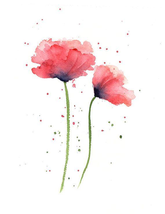 Mohnblumen Kunstdruck - rote Blume Wand Dekor - Floral Aquarell