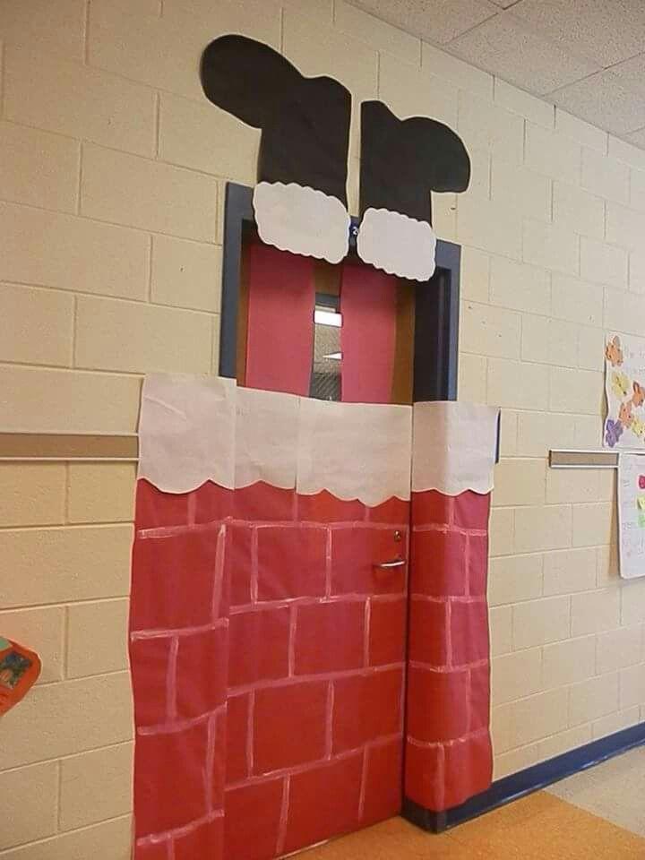 Decoracion de san5oclouse en puerta NAVIDAD Pinterest