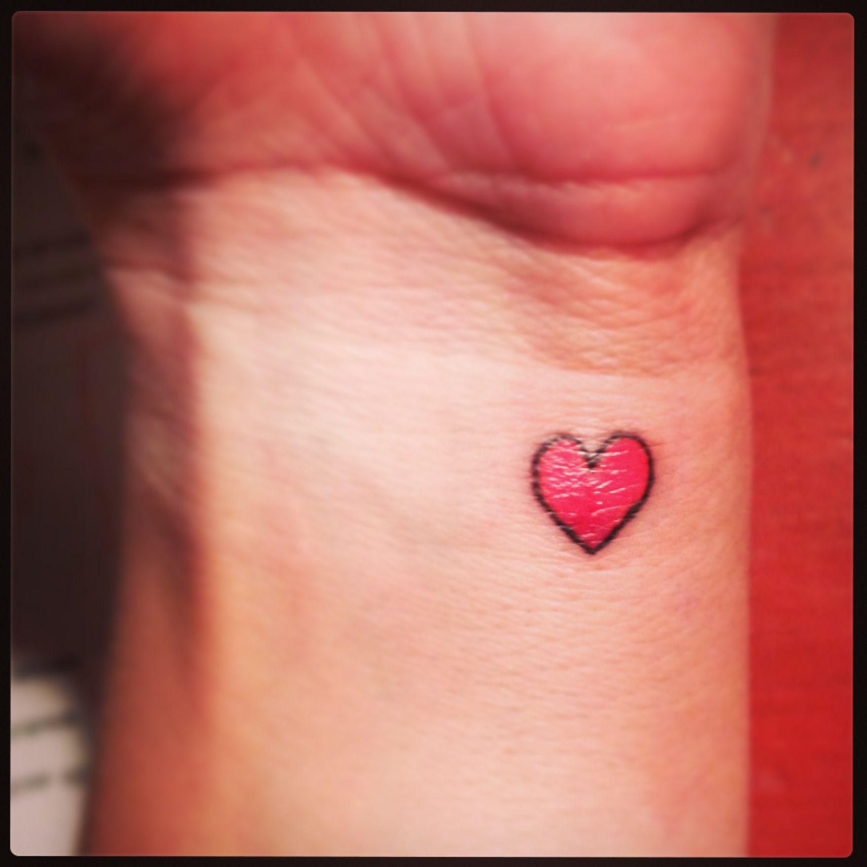 Tiny heart wrist tattoo Tattoos Tiny heart tattoos