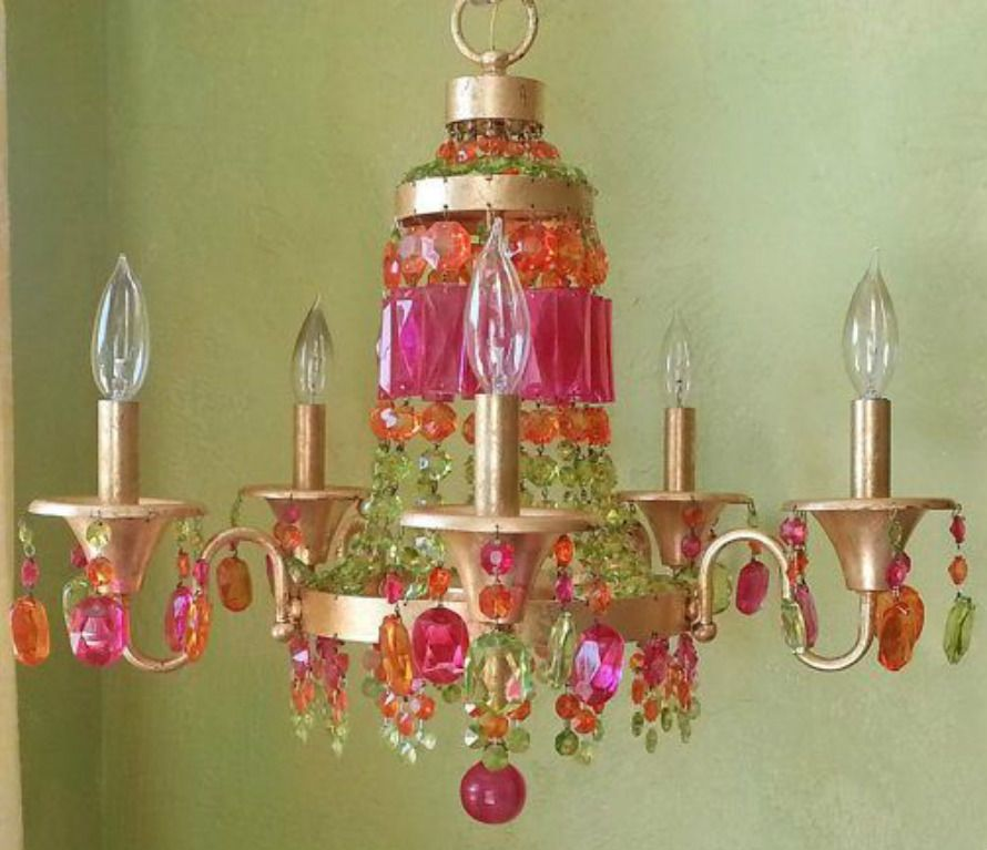 ℭhandeliersℭeilingsℒATERNS ℭ R Y S T A L S - Orange chandelier crystals