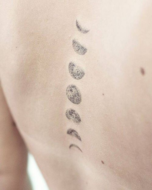 Hand poked moon phase tattoos on the upper back tattoo for Moon phase tattoo