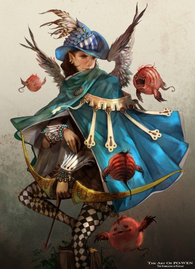 Anime Jester Characters : Po wen art anime manga woman jester archer medieval