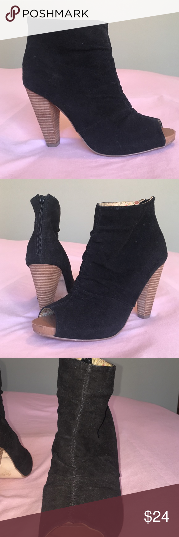 Suede peep toe ankle booties. Seychelles Beautiful black ruched suede ankle booties. Stacked heel. Back zipper closure. Seychelles Shoes Ankle Boots & Booties