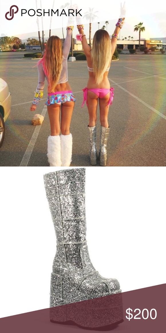 823018dcbfb Silver Glitter Demonia Stack Boots Size 8 men s size 6. Silver glitter.  You ll look like a rock star in these! UNIF Shoes Platforms