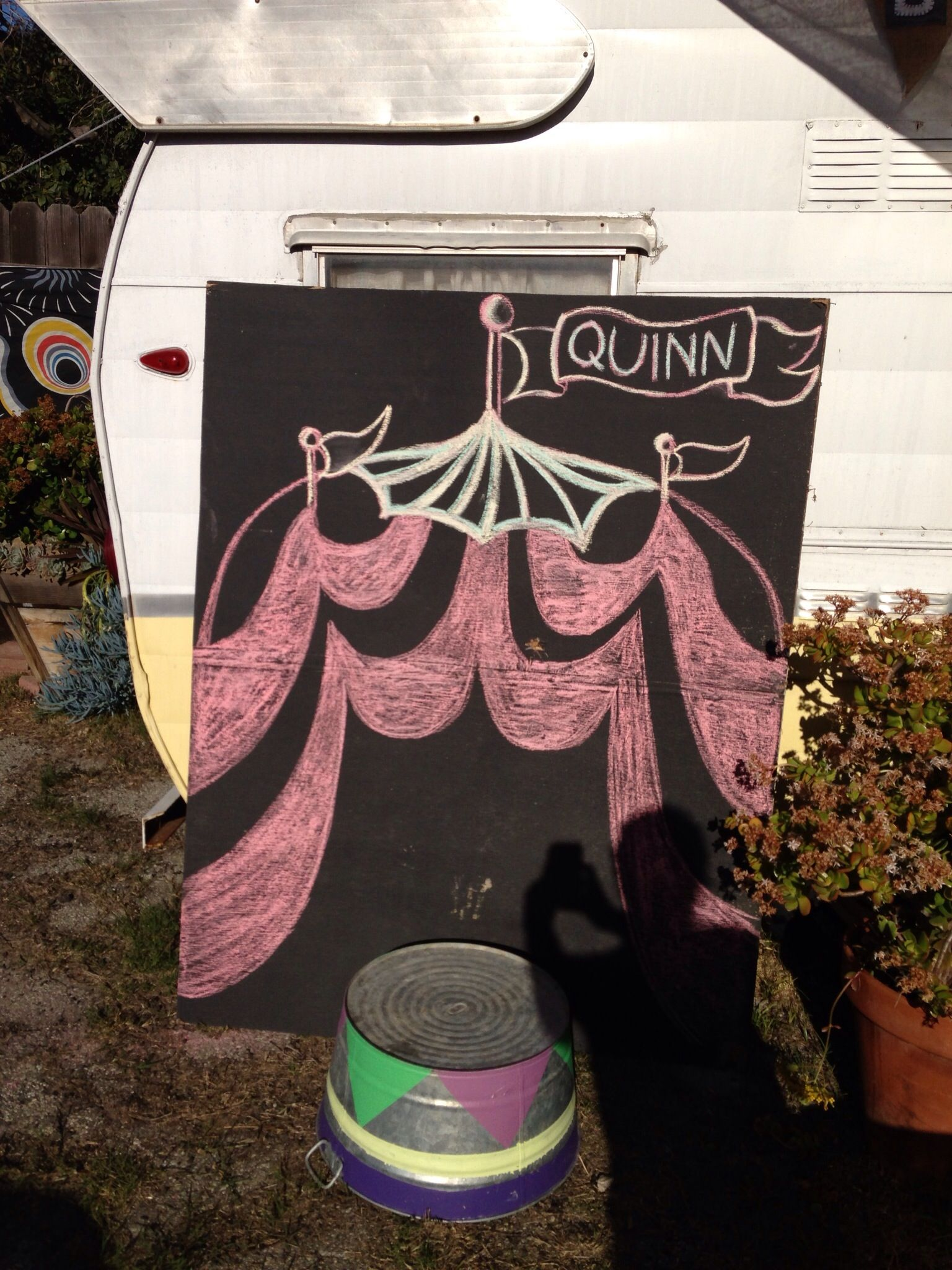 Photo booth set up for circus party.