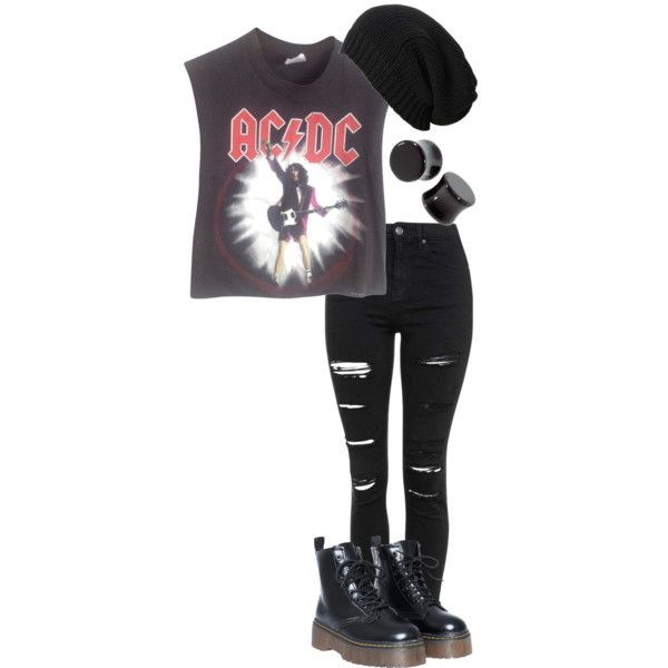 dirty deeds//AC/DC by bands-are-my-savior on Polyvore featuring moda, Vintage, Topshop and AllSaints