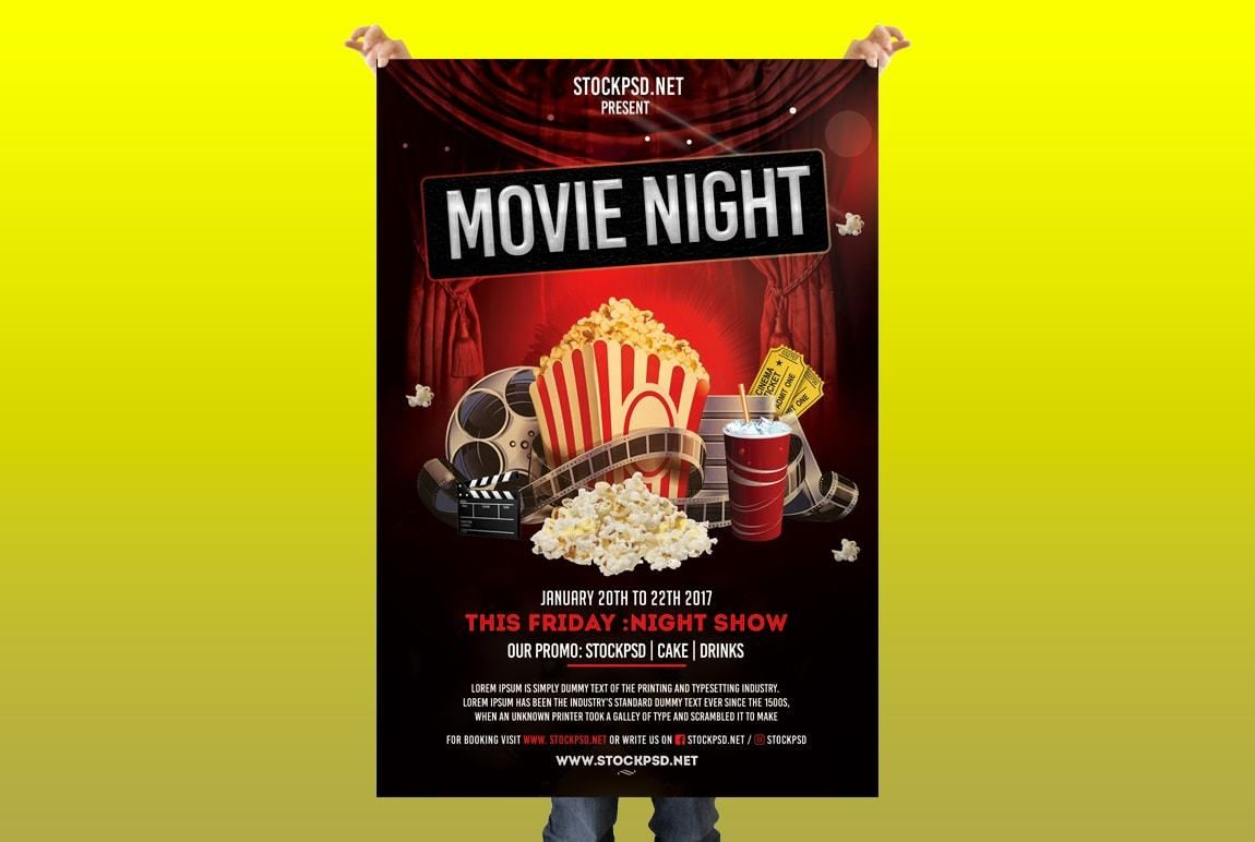 movie night free psd flyer template