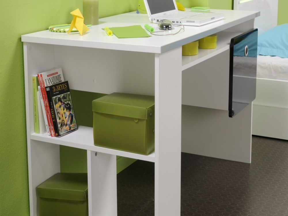 Luxury Green Age Bedroom Ideas Feats Lovely White Wood Desks For S And Grey Tile Flooring Image